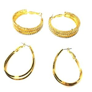 Jewelry - NWOT 2 Pairs of Small Gold Hoop Earrings